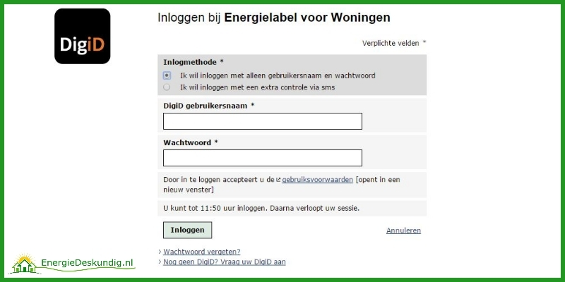 Log on with DigiD at the Dutch home energy label site