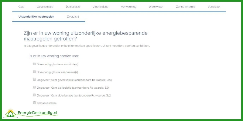 Form to specifiy exceptional energy-saving measures on the home energy label request website of the Dutch government.