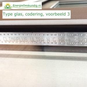Type HR++ glas herkennen, foto van codering, voorbeeld 3